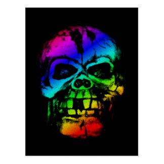 Cartão Postal Crânio colorido do arco-íris