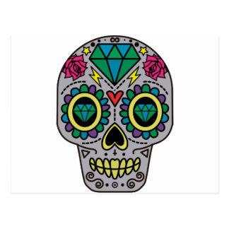 Cartão Postal Crânio colorido Funky abstrato do açúcar