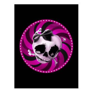 Cartão Postal Crânio cor-de-rosa feminino com arco preto