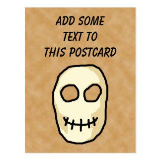 Cartão Postal Crânio de creme e preto. Estilo primitivo