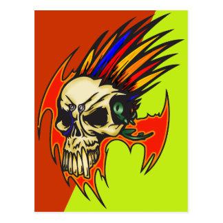 Cartão Postal Crânio do Cyborg com penas