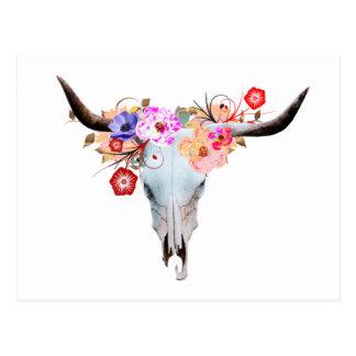 Cartão Postal Crânio floral rústico de Boho Longhorn