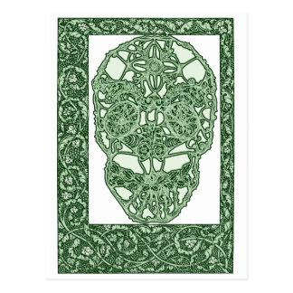 Cartão Postal Crânio Green Day de Nouveau da arte do morto