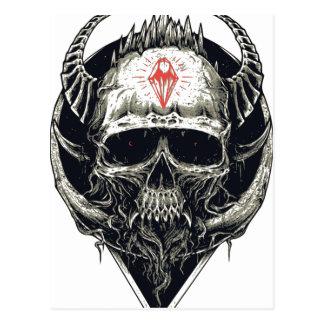 Cartão Postal Crânio Horned do diabo
