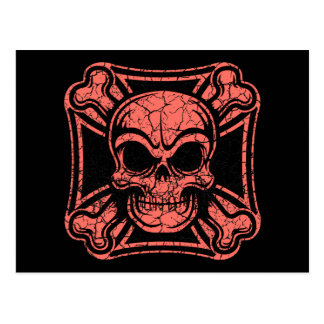 Cartão Postal Crânio maltês & Crossbones - vermelho