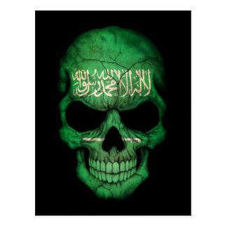 Cartão Postal Crânio saudita customizável da bandeira