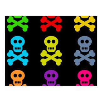 Cartão Postal Crânios coloridos