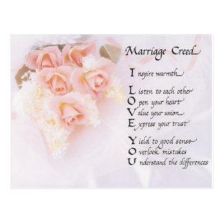 Cartão Postal Credo do casamento
