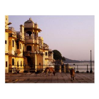 Cartão Postal Crepúsculo em Ganghaur Ghat, Udaipur, Rajasthan,