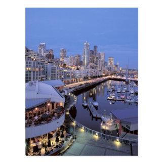 Cartão Postal Crepúsculo no porto de Bell em Seattle, Washington