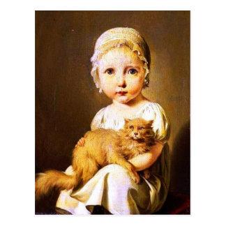 Cartão Postal Criança com gato