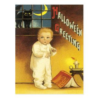 Cartão Postal Criança crescente da história de fantasma da lua