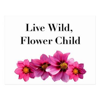 Cartão Postal Criança de flor selvagem viva