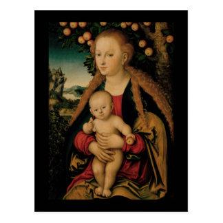 Cartão Postal Criança do Virgin sob a árvore de Apple Cranach