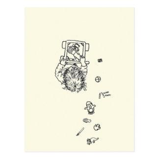 Cartão Postal Criança engraçada que faz um a lápis desenho da