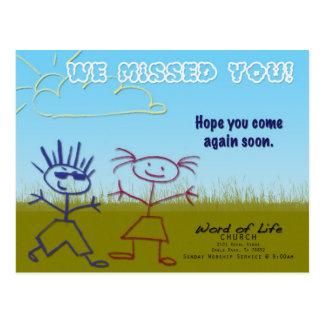 Cartão Postal Criança-Igreja-Cartão