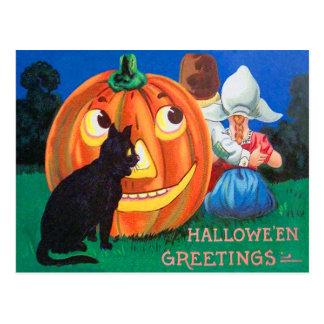 Cartão Postal Crianças da abóbora da lanterna de Jack O do gato