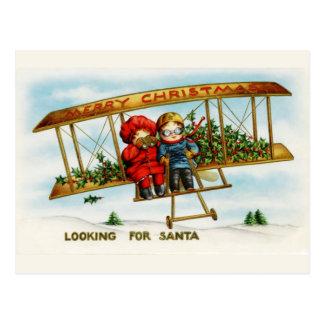 Cartão Postal Crianças do natal vintage que procuram o papai