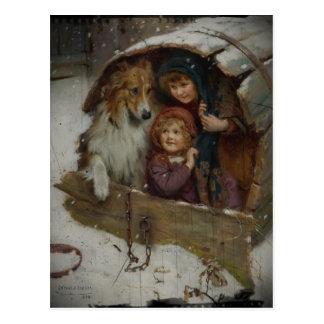 Cartão Postal Crianças do Victorian na casa de cachorro
