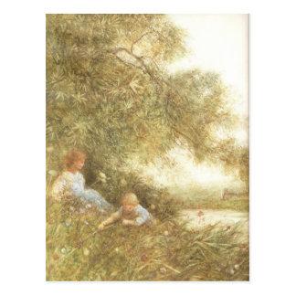 Cartão Postal Crianças do Victorian que jogam fora