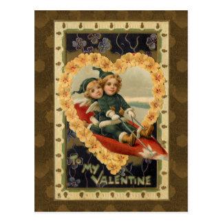 Cartão Postal Crianças dos namorados do vintage