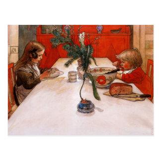 Cartão Postal Crianças que comem a ceia