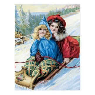 Cartão Postal Crianças Sleding do vintage