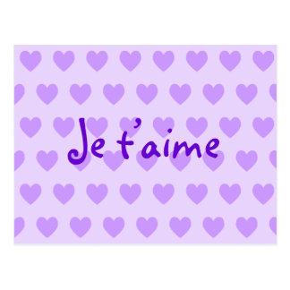 Cartão Postal Criar seus próprios corações roxos de Je T'aime