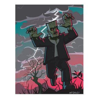 Cartão Postal criatura do frankenstein na tempestade
