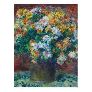 Cartão Postal Crisântemos de Pierre-Auguste Renoir do vintage