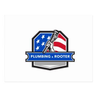 Cartão Postal Crista da bandeira dos EUA da chave de tubulação