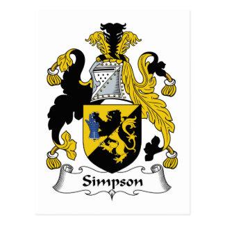 Cartão Postal Crista da família de Simpson