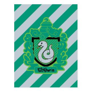 Cartão Postal Crista de Slytherin dos desenhos animados