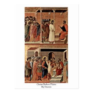 Cartão Postal Cristo antes de Pilate por Duccio
