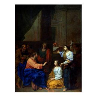Cartão Postal Cristo com Martha e Mary