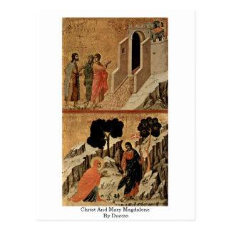 Cartão Postal Cristo e Maria Madalena por Duccio