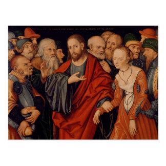 Cartão Postal Cristo e o adultèrio recolhido mulher