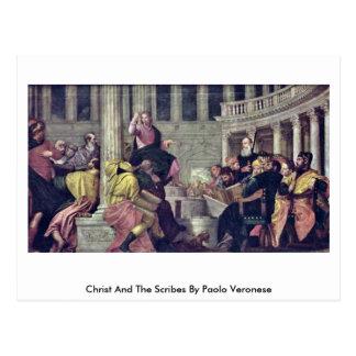 Cartão Postal Cristo e os escreventes por Paolo Veronese