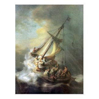 Cartão Postal Cristo em uma tempestade no mar de Galilee -