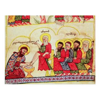 Cartão Postal Cristo que lava os pés dos discípulo