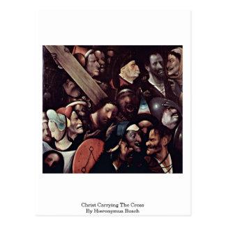 Cartão Postal Cristo que leva a cruz. Por Hieronymus Bosch
