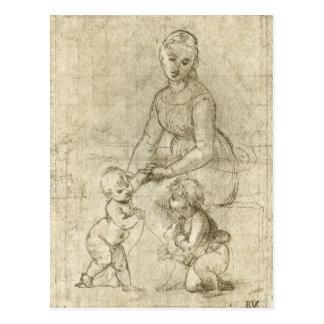 Cartão Postal Cristo & St John de Madonna w o baptista por