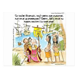 Cartão Postal Cristóvão Colombo Immigrates a América engraçada