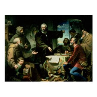 Cartão Postal Cristóvão Colombo no monastério do la