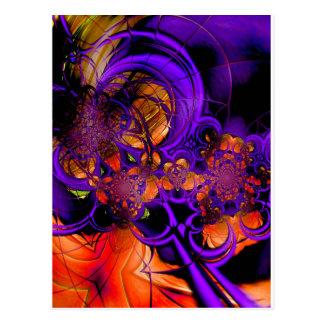 Cartão Postal Crochet alaranjado roxo Zizzago do metal da arte