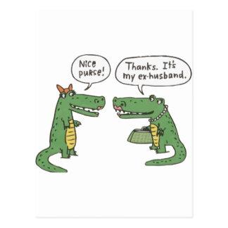 Cartão Postal Crocodilo engraçado