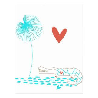 Cartão Postal Crocodilo minimalista com a flor do coração e do