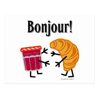 Cartão Postal Croissant e doce - Bonjour!