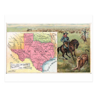 Cartão Postal Cromo de colecção 1889 do vintage de Texas