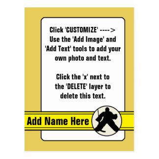 Cartão Postal Cromo de colecção customizável do Goalie do hóquei